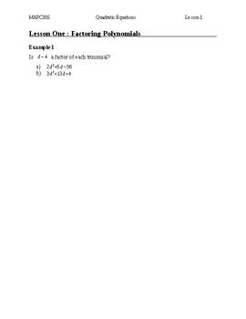 Solving Quadratic Equations Unit Videos