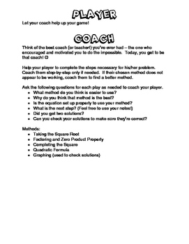 Solving Quadratic Equations Using Any Method - Coach and Player Activity
