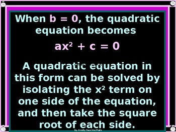 Power-point:  Solving Quadratic Equations Using Square Roots with GUIDED NOTES