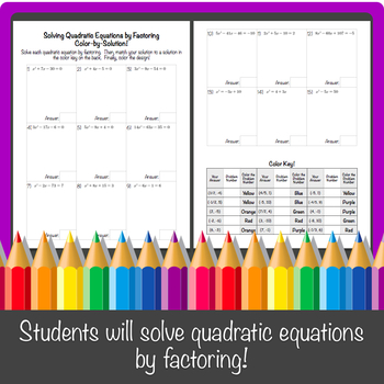 Solving Quadratic Equations Using by Factoring Color-By-Solution!