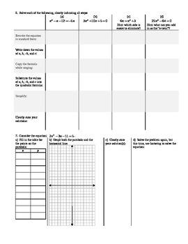 Solving Quadratic Equations Using the Quadratic Formula Spring 2014 (Editable)