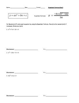 Solving Quadratic Equations Using the Quadratic Formula & Discriminant  Worksheet