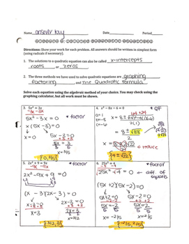 Solving Quadratic Equations Worksheet: Factoring & The Quadratic Formula
