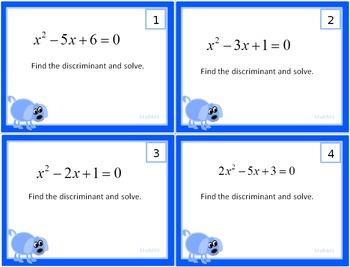 Solving Quadratic Equations and Finding the Discriminant