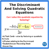Solving Quadratic Equations and Finding the Discriminant
