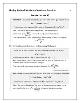 Solving Quadratic Equations by All Methods - Practice Advanced ( two versions)