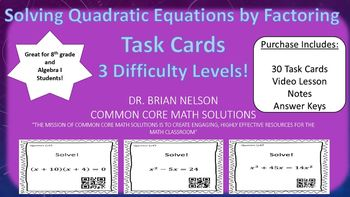 Solving Quadratic Equations by Factoring (30 Task Cards – 3 different levels!)
