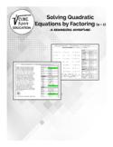 Solving Quadratic Equations by Factoring - A Rewarding Adventure