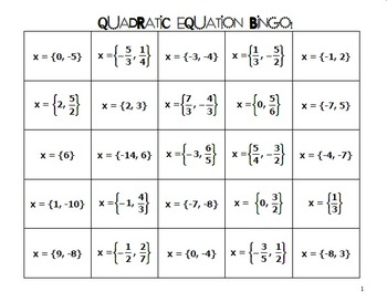 Quadratic Equations (Solve by Factoring) Bingo