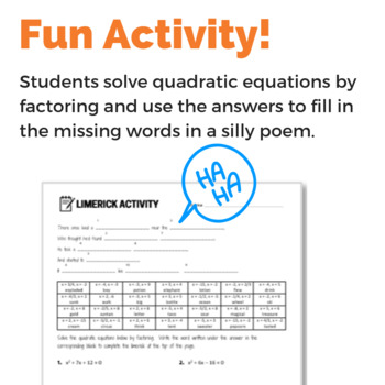 Solving Quadratic Equations by Factoring - Fun Activity