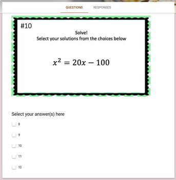 Solving Quadratic Equations by Factoring  (Google Form, Video Lesson & Notes!)