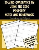 Solving Quadratic Equations by Factoring Guided Notes and Homework
