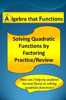Solving Quadratic Equations by Factoring Practice