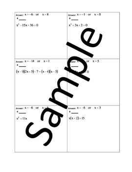 Solving Quadratic Equations by Factoring (a=1) – Circuit Training