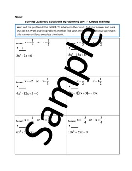 Solving Quadratic Equations by Factoring (a≠1) – Circuit Training