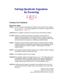 Solving Quadratic Equations by Factoring (aligned for Common Core)