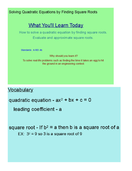Solving Quadratic Equations by Finding Square Roots SmartB