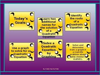 Algebra Power-point:  Solving Quadratic Equations by Graphing with GUIDED NOTES