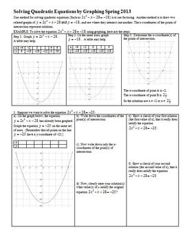 Solving Quadratic Equations by Graphing Spring 2013
