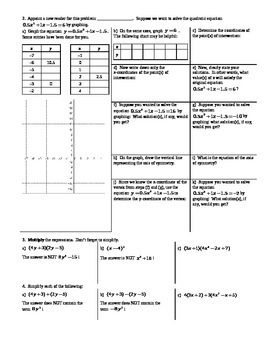 Solving Quadratic Equations by Graphing Spring 2014 (Editable)