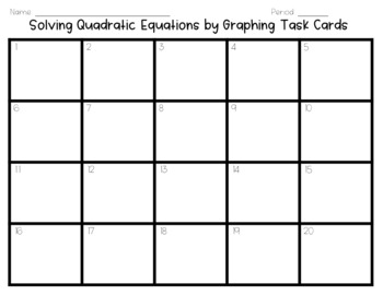 Solving Quadratic Equations by Graphing Task Cards