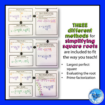 Solving Quadratic Equations by QUADRATIC FORMULA *Flowchart* Graphic Organizer