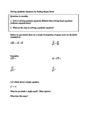 Solving Quadratic Equations by Square Roots Notes, Practic