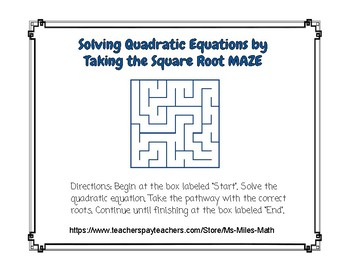 Solving Quadratic Equations by Taking the Square Root ~ Maze