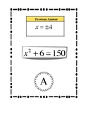 Solving Quadratic Equations by Taking the Square Root Scavenger Hunt