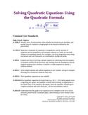 Solving Quadratic Equations by Using the Quadratic Formula
