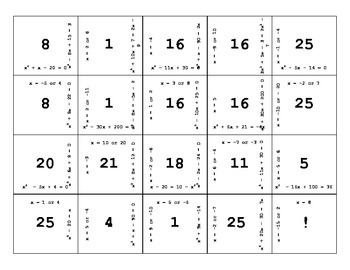 Solving Quadratic Equations (factoring, quadratic formula) Thanksgiving Puzzle