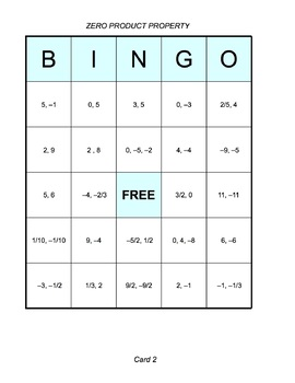 Solving Quadratic Equations in Factored Form BINGO Game