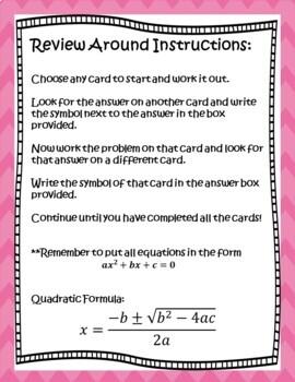 Solving Quadratic Equations by Factoring & the Quadratic Formula Scavenger Hunt