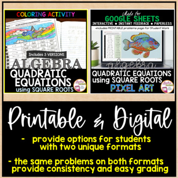 Solving Quadratic Equations by Square Roots Coloring Activity