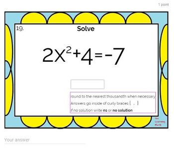 Solving Quadratic Equations using Square Roots: Google Forms Quiz - 20 Problems