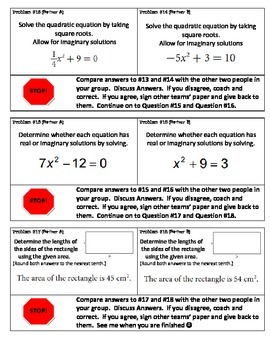 Solving Quadratic Equations using Square Roots - Pair Check Activity