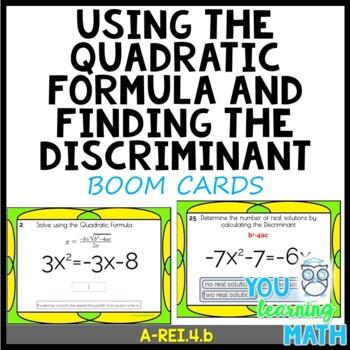 Solving Quadratic Equations using the Quadratic Formula - DIGITAL BOOM Cards