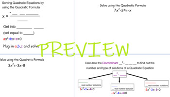Solving Quadratic Equations using the Quadratic Formula - Foldable for INB