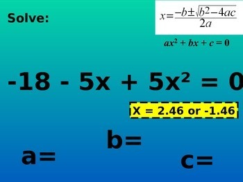 Solving Quadratics. Quadratic Formula and Completing the Square (algebra 1)