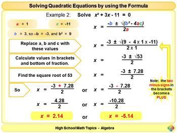 Solving Quadratic Equations using the formula for High School Math