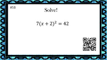 Solving Quadratic Equations with Perfect Squares (30 Task Cards – 3 levels!)