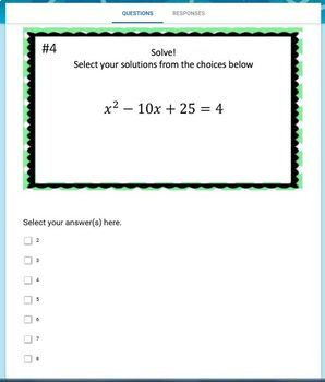 Solving Quadratic Equations with Perfect Squares (Google Form, Video & Notes!)