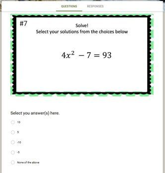 Solving Quadratic Equations with Square Roots (Google Form, Video & Notes!)