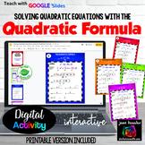 Solving Quadratic Equations Quadratic Formula Digital GOOGLE plus Printable