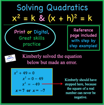 Quadratics: Solving x squared = k and (x + h) squared = k (PowerPoints Included)