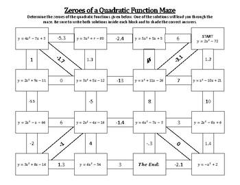 Solving Quadratic Functions Maze Activity