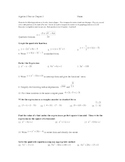 Solving Quadratic Functions Test