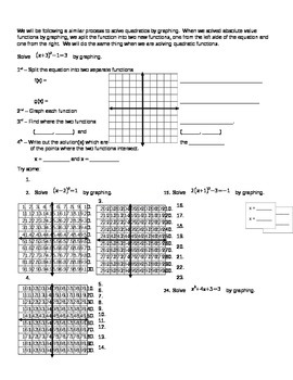 Solving Quadratic Functions by Graphing a System