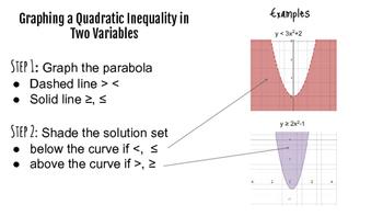 Solving Quadratic Inequalities Graphically and Algebraically