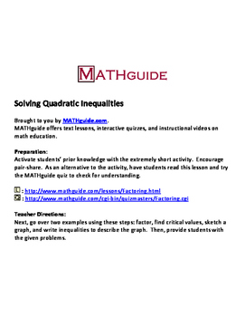 Solving Quadratic Inequalities By Factoring By Mathguide Tpt